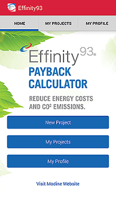 Effinity93 Payback Calculator App for Modine Gas-Fired Unit heaters Model PTC & BTC