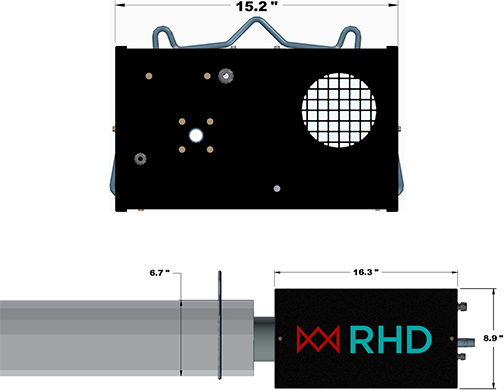 Infrared tube heater burner box and radiant tube schematic.